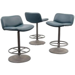 Ilmari Tapiovaara Caribe Leather Swivel Stools