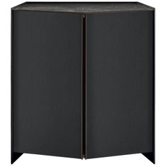 Gallott & Radice Athus Cabinet in Black Open Pore Lacquered Ash and Marble