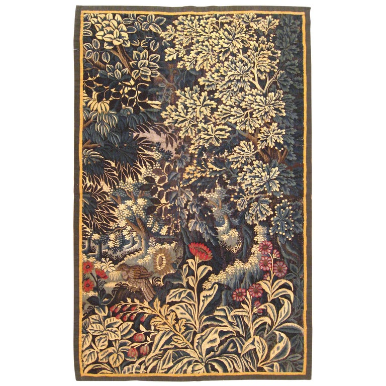 Antique 17th Century Verdure Landscape Tapestry with a Large Tree and Flowers