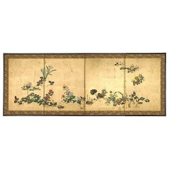 Japanese Screen with Seasonal Flowers