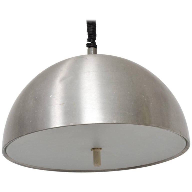 Mid Century Modern Italian Pendant Light Aluminum Adjustable For Sale