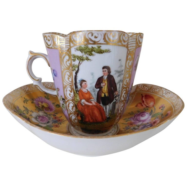 19th Century Helena Wolfsohn Porcelain Cup and Saucer For Sale