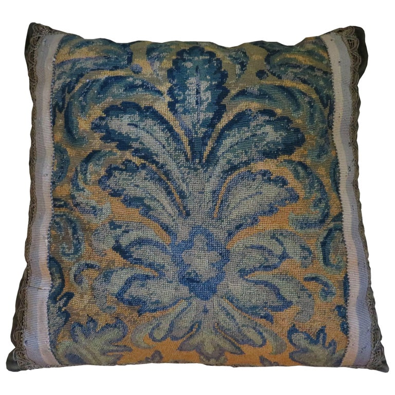 19th Century Large Needlepoint Pillow For Sale