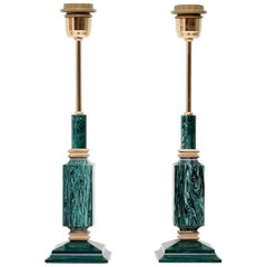Pair of Green Faux Malachite Table Lamps, 1970s