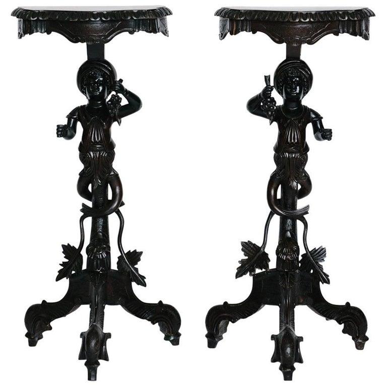 Pair of 19th Century Carved Venetian Blackamoor Pedestal Tables