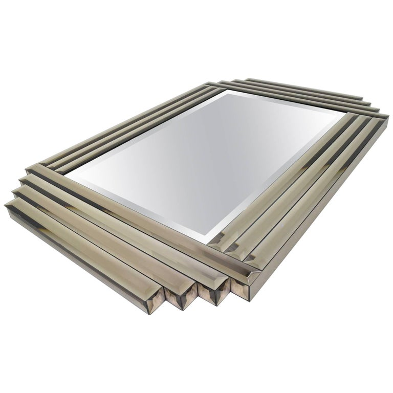 Large beveled glass mirror for sale at 1stdibs for Beveled glass mirror