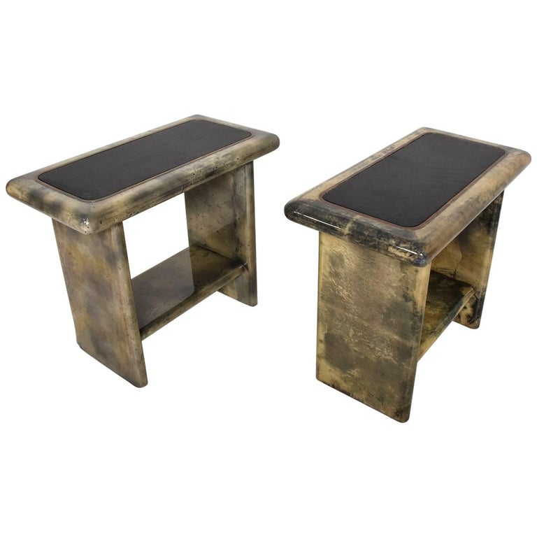 Pair of Goatskin Parchment and Leather Side Tables For Sale