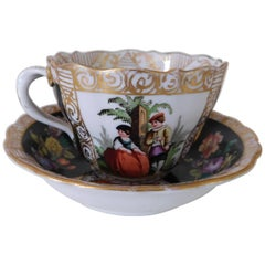 19th Century Meissen Porcelain Cup and Saucer, circa 1850