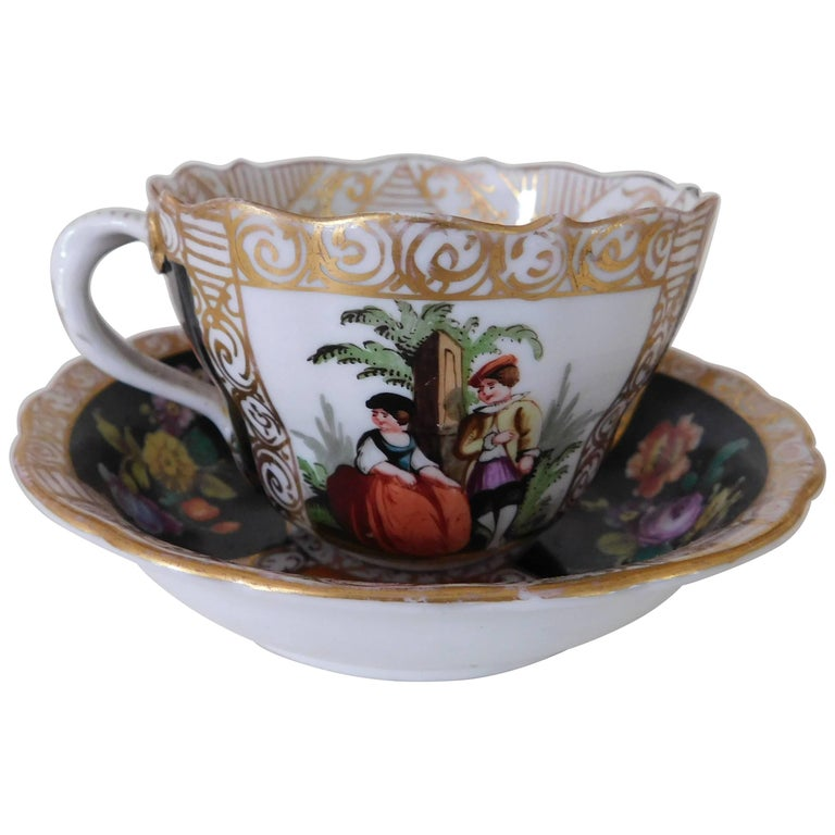 19th Century Meissen Porcelain Cup and Saucer, circa 1850 For Sale