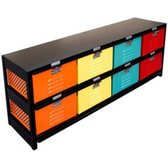 1960s Vintage Locker Basket Storage Unit in Rainbow, Custom Refinished