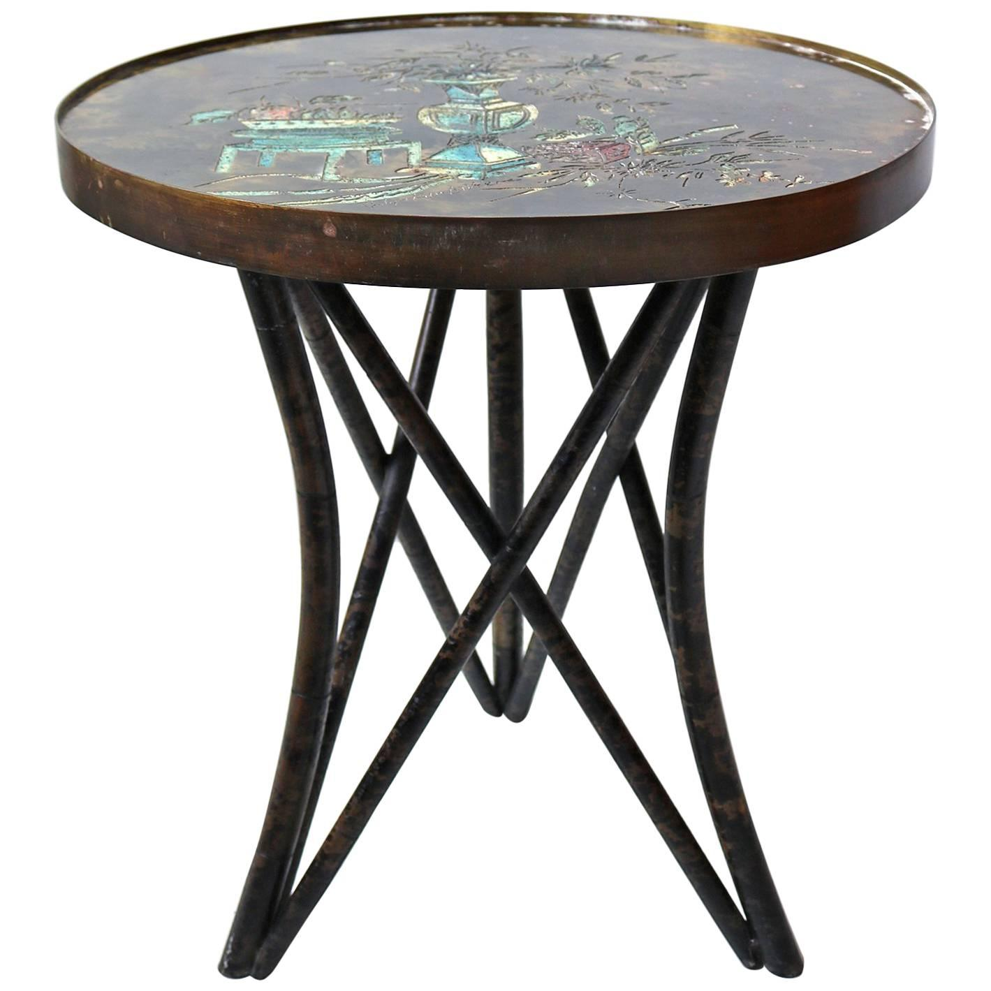 Philip and Kelvin LaVerne 'Still Life' Side Table in Patinated Bronze