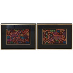 1970s Guatemala Mola Mixed Textiles Artwork Framed Panels, Pair