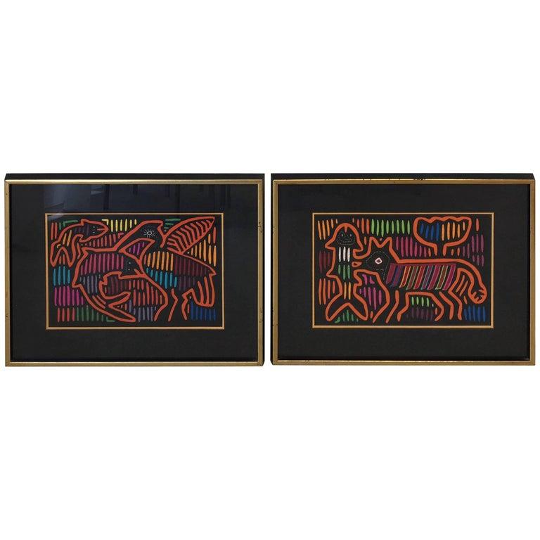 1970s Guatemala Mola Mixed Textiles Artwork Framed Panels, Pair