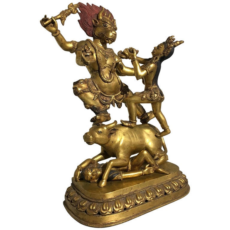 Large 20th Century Nepalese Gilt Bronze Figure of Yama and Yami For Sale