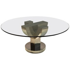 Geometric Stainless Steel Dining or Center Table, circa 1965