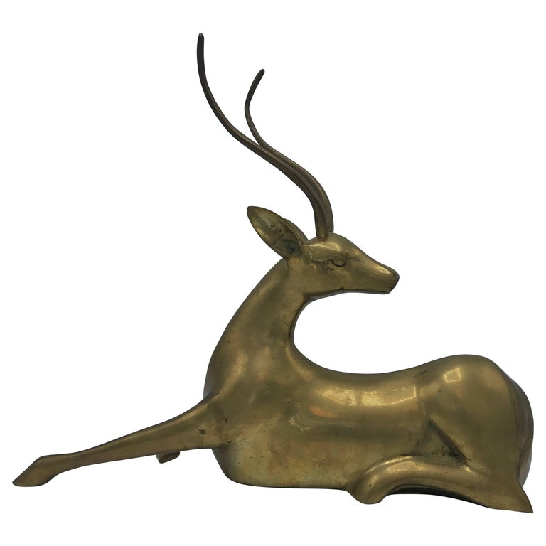 1960s Brass Sitting Gazelle Sculpture