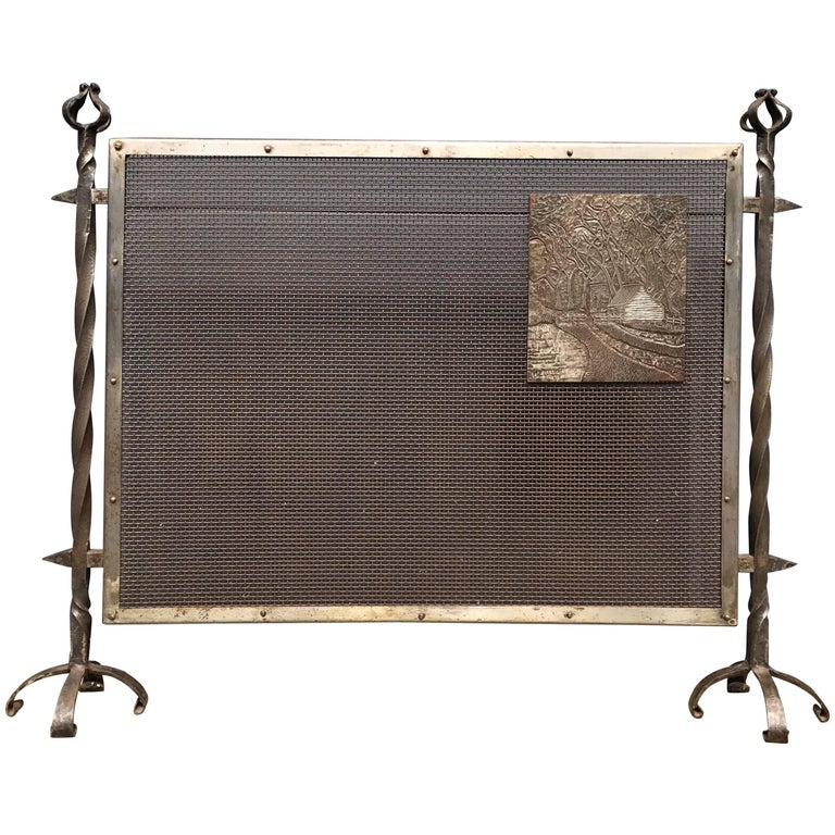 Unique Arts & Crafts Wrought Iron and Metal Firescreen with Cast Iron Plaque For Sale