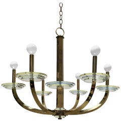20th Century Brass and Lucite Chandelier