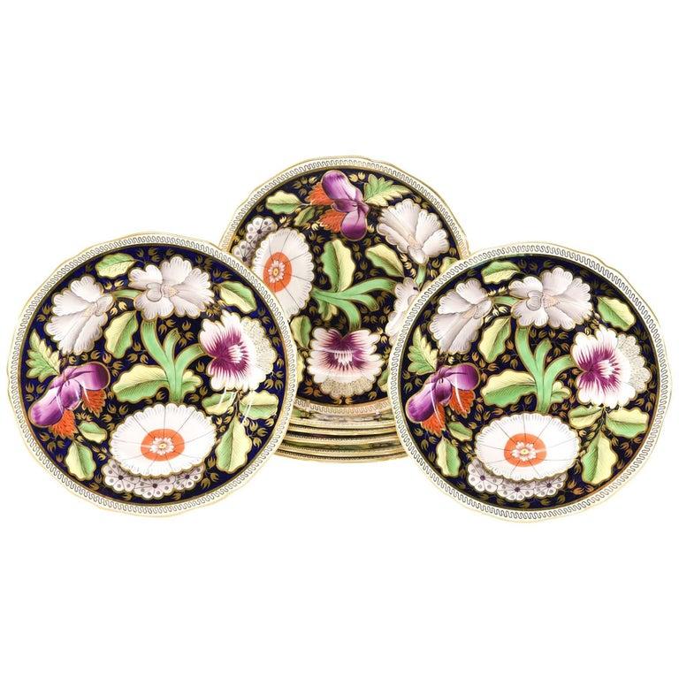 Set of Eight Copeland Spode Floral Polychrome Enamel Rimmed Soup Bowls