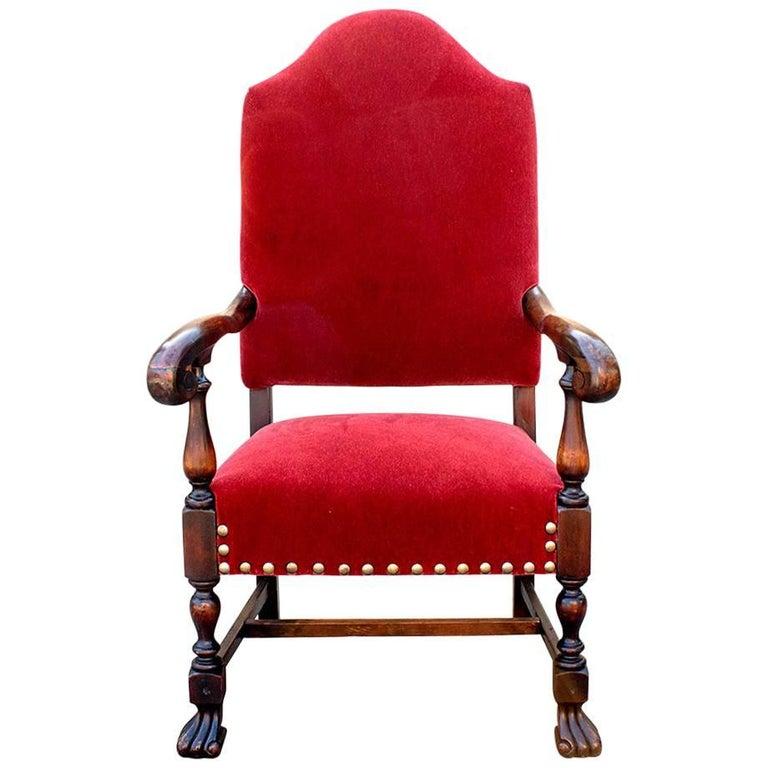 American Empire Style Armchair in Mahogany, circa 1890