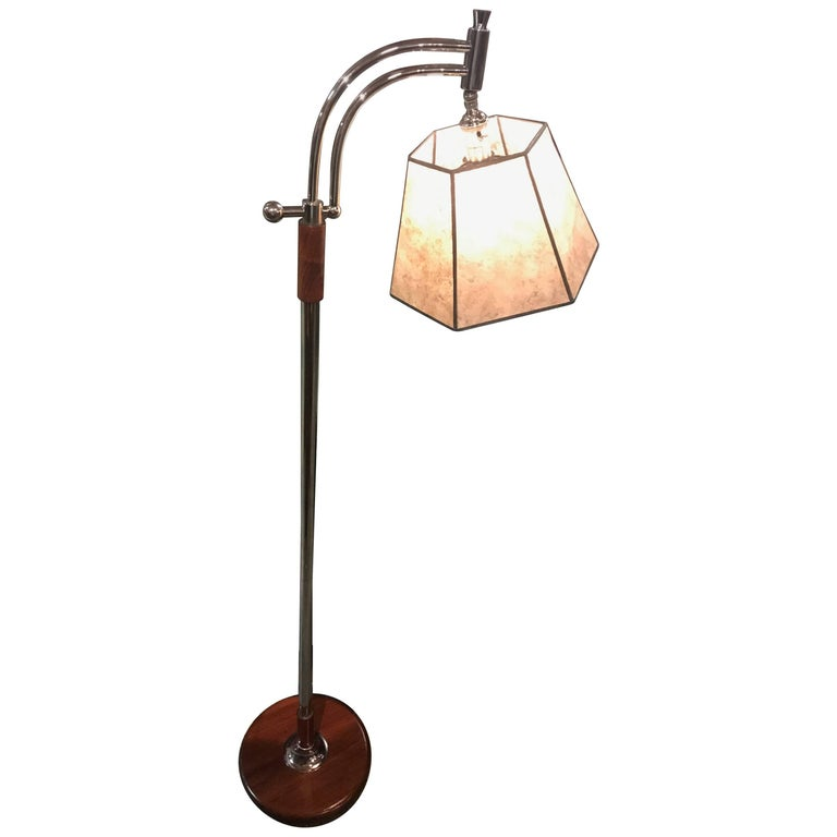 Bridge Floor Lamp with Mica Shade in the Style of Deskey or Rhode For Sale