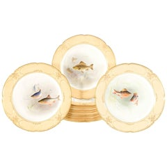 Set of 12 Doulton Burslem Hand-Painted Artist Signed Fish Plates, 19th Century