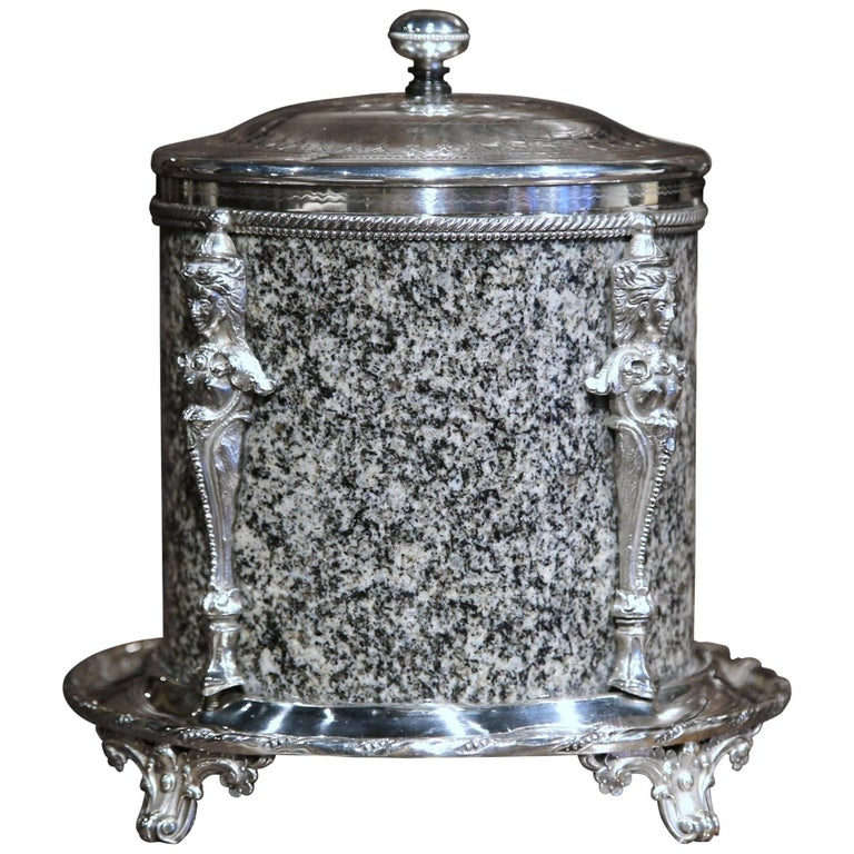 19th Century English Granite and Silver Plated Biscuit Box with Bottom Marking