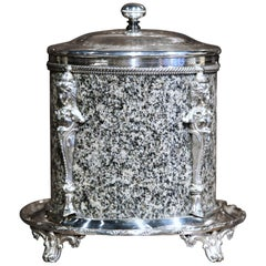 19th Century English Granite and Silver Plated Biscuit Box with Decorative Mount