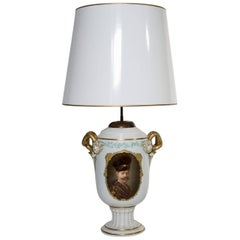 Rosenthal Porcelain Lamp, Germany, 1913-1914 with a Signed Hand-Painted Portrait