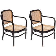 Early Pair of Thonet Adolf Schneck A61F Bentwood Low Chairs, Austria, 1925