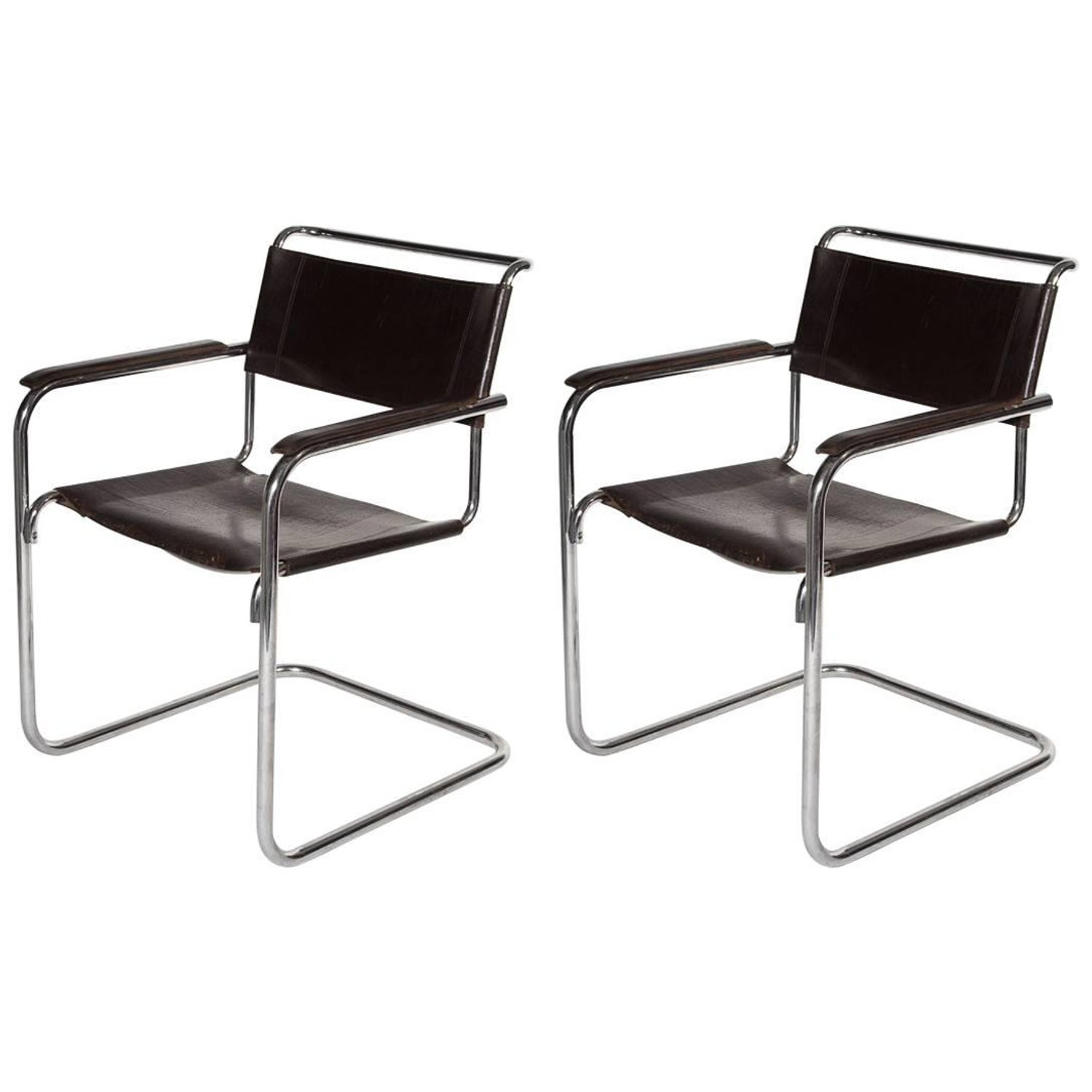 Bauhaus tubular steel lounge chair at 1stdibs - 20th Century Thonet Cantilever Bauhaus Armchairs S34 Designed By Mart Stam 1927 For Sale At 1stdibs