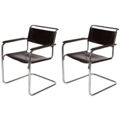20th Century Thonet Cantilever Bauhaus Armchairs S34 designed by Mart Stam, 1927
