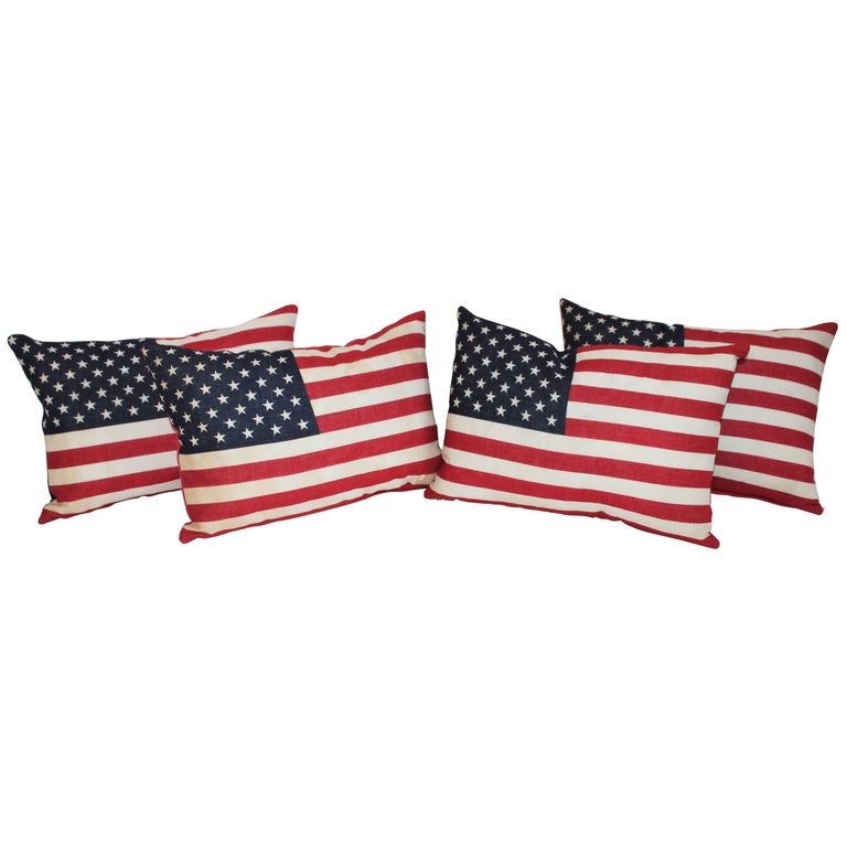 Flag Pillows / Four Vintage 50 Star Flag Pillows