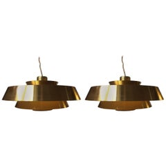 Vintage Pair of Tiered Brass 'Nova' Pendant Lights by Jo Hammerborg, Fog & Mørup