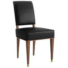 NK Collection Classic Dining Chair Upholstered in Black Leather