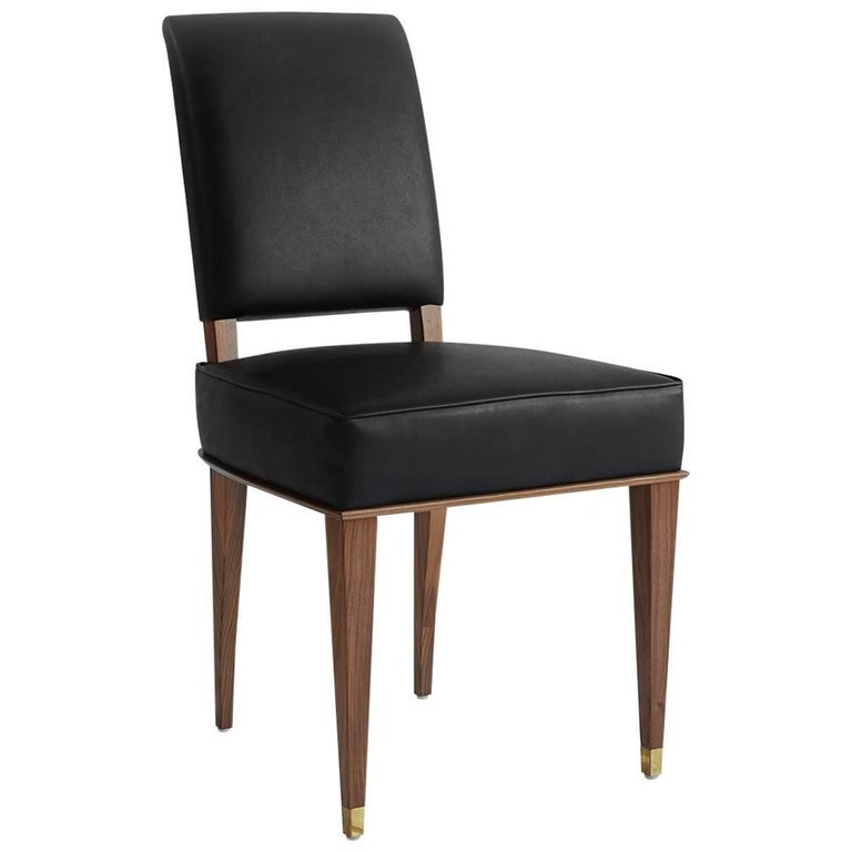 NK Collection Classic Dining Chair Upholstered in Black Leather For Sale