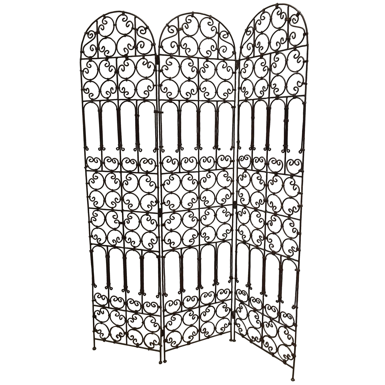 Hand-Forged Iron Three Panels Folding Moorish Screen