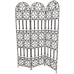 Hand-Forged Iron Three Panels Folding Moorish Screen