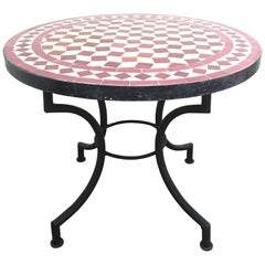 Moroccan Mosaic Side Table on Low Iron Base