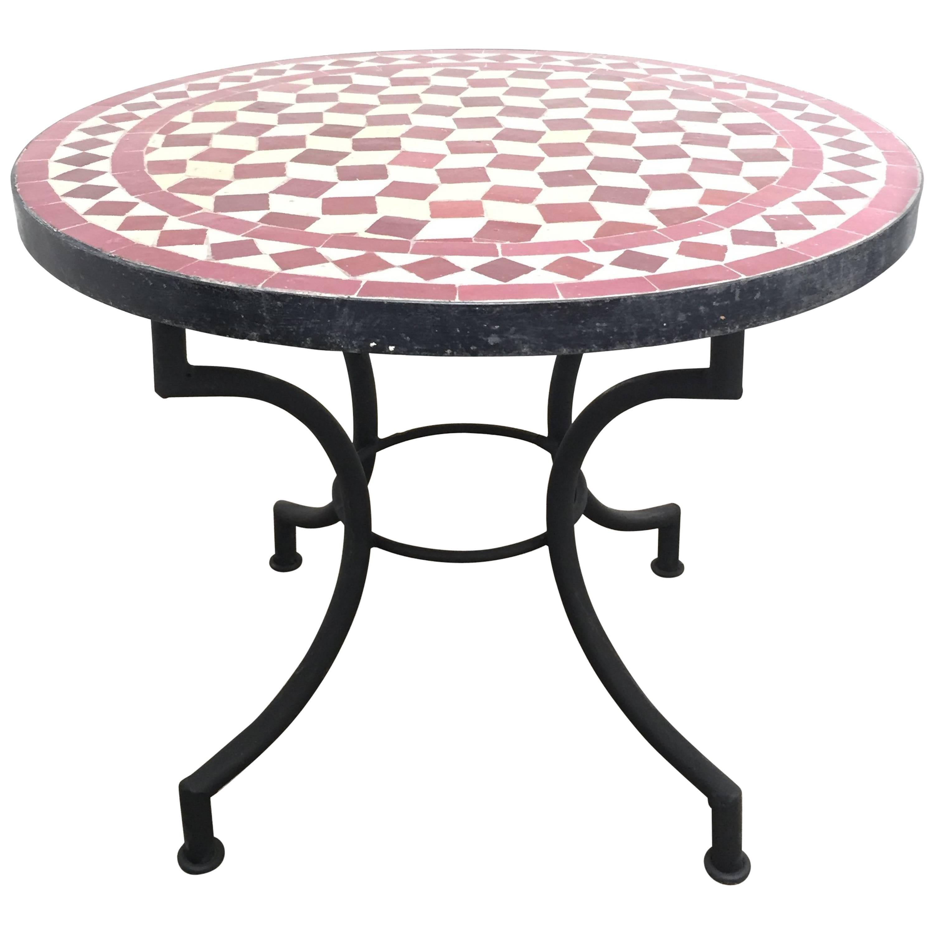 Moroccan Mosaic Side Table On Low Iron Base For Sale