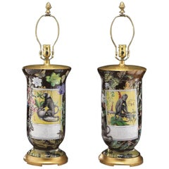 Pair of 20th Century Reverse Decorated Glass Table Lamps