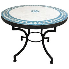 Moroccan Mosaic Outdoor Tile Side Table on Low Iron Base