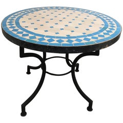 Moroccan Mosaic Tile Side Table on Low Iron Base
