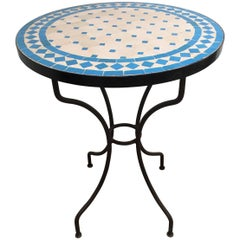 Moroccan Mosaic Blue Tile Bistro Table
