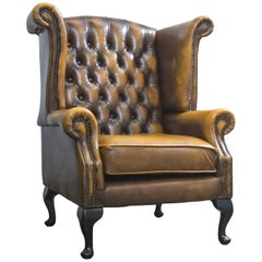 Chesterfield Leather Wingchair Ocher Brown Oneseater Couch Retro Vintage