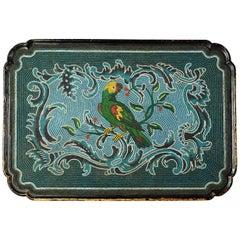Deutscher Rokoko, 18. Jahrhundert, Glasperlen Dekorierter Couchtisch mit Exotischem Papagei