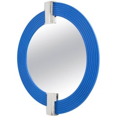 Large Cobalt Blue Mirror with Nickel-Plated Mounts, 1990s