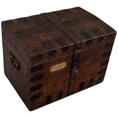 English Oak Silver Chest Shipping Storage Trunk, Lambert London, circa 1830