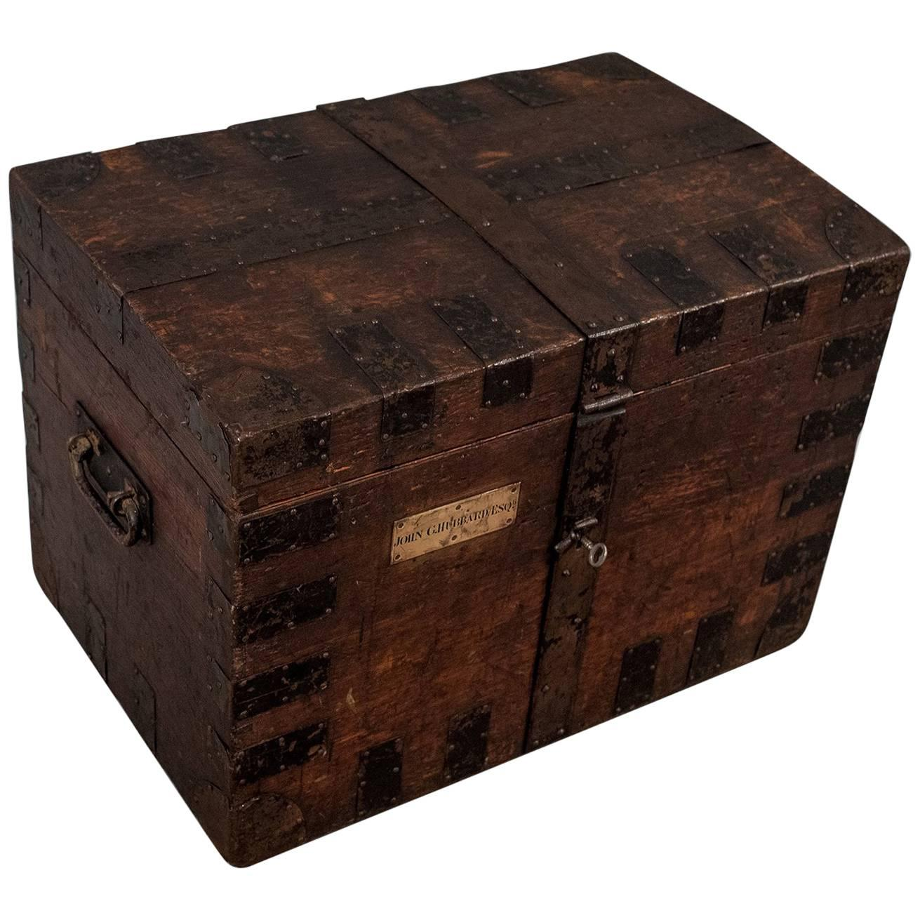 English Oak Silver Chest Shipping Storage Trunk, Lambert London, Circa 1830  For Sale