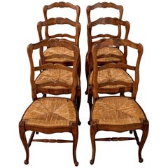 Antique Set of Six French Oak Kitchen Dining Country Chairs Rush Seats